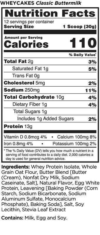 WHEY CAKES Rule 1 Nutrition Label
