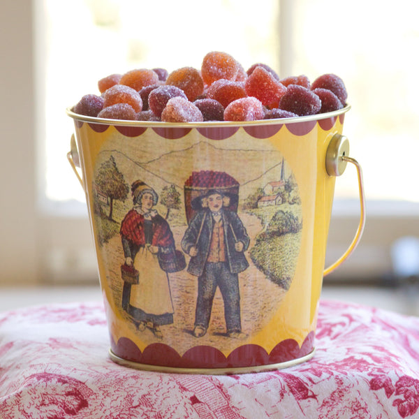 Pate de Fruit in tin pail - Artisanal fruit jellies Candy- La Riviere Confiserie
