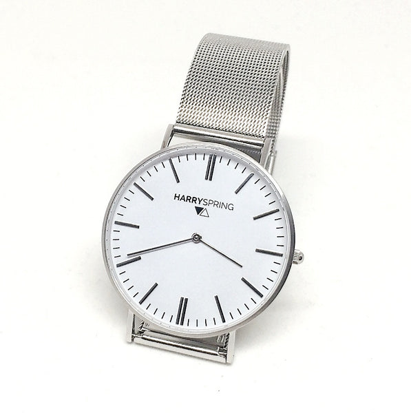 Taylor Spring Silver Mesh Watch with Silver Strap