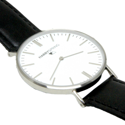 Peyton Spring Black Leather Watch And Watch Strap