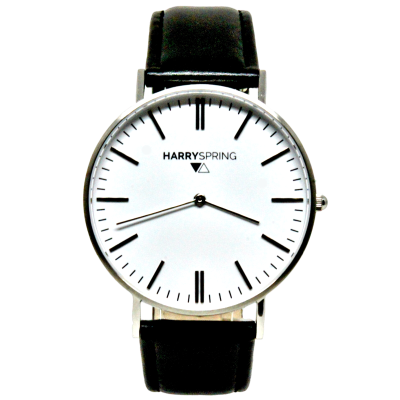 Peyton Spring Silver Dial Black Leather Watch