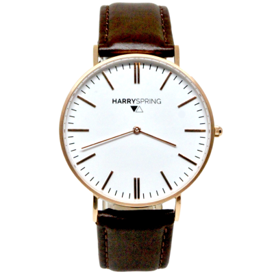 Remy Spring Rose Gold Watch Brown Leather Strap