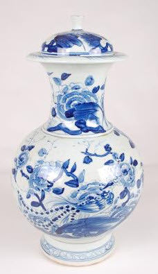 Hand Painted Ceramic Blue and White Vase With Lid