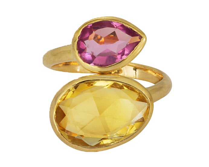 Gold Vermeil Ring With Citrine and Pink Tourmaline - Carleton Varney