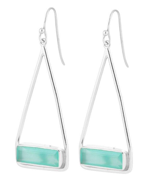 Manhattan Aqua Swing Earrings - Silver - Carleton Varney