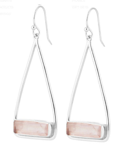 Manhattan Peach Swing Earrings - Silver - Carleton Varney