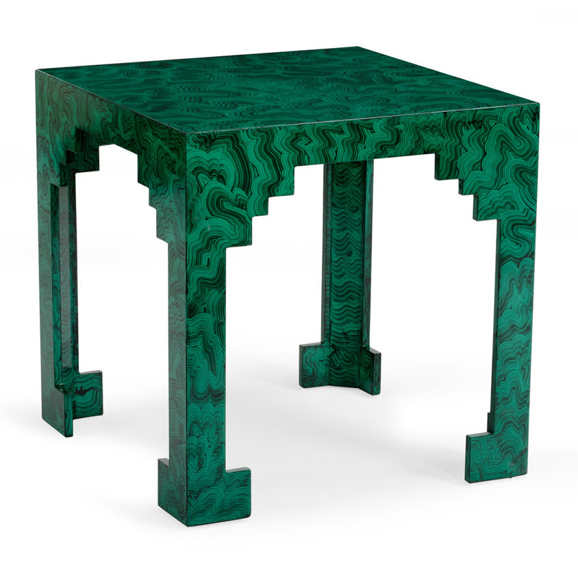 Troy Malachite Finish Side Table