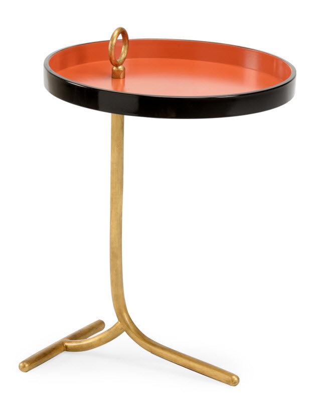 Cocktail Table with a Gold and Mandarin Finish
