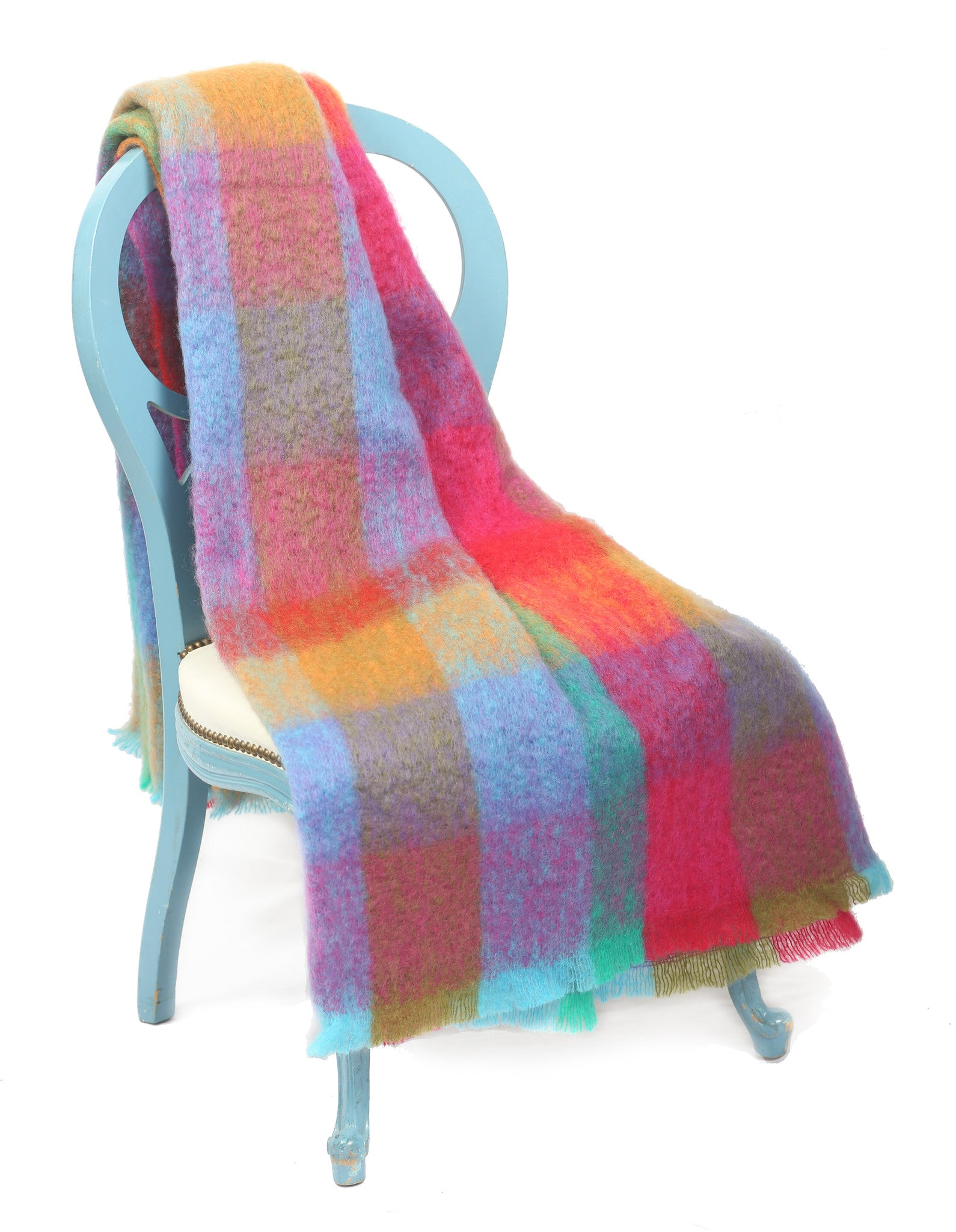 Large Mohair Throw Blanket / Multi