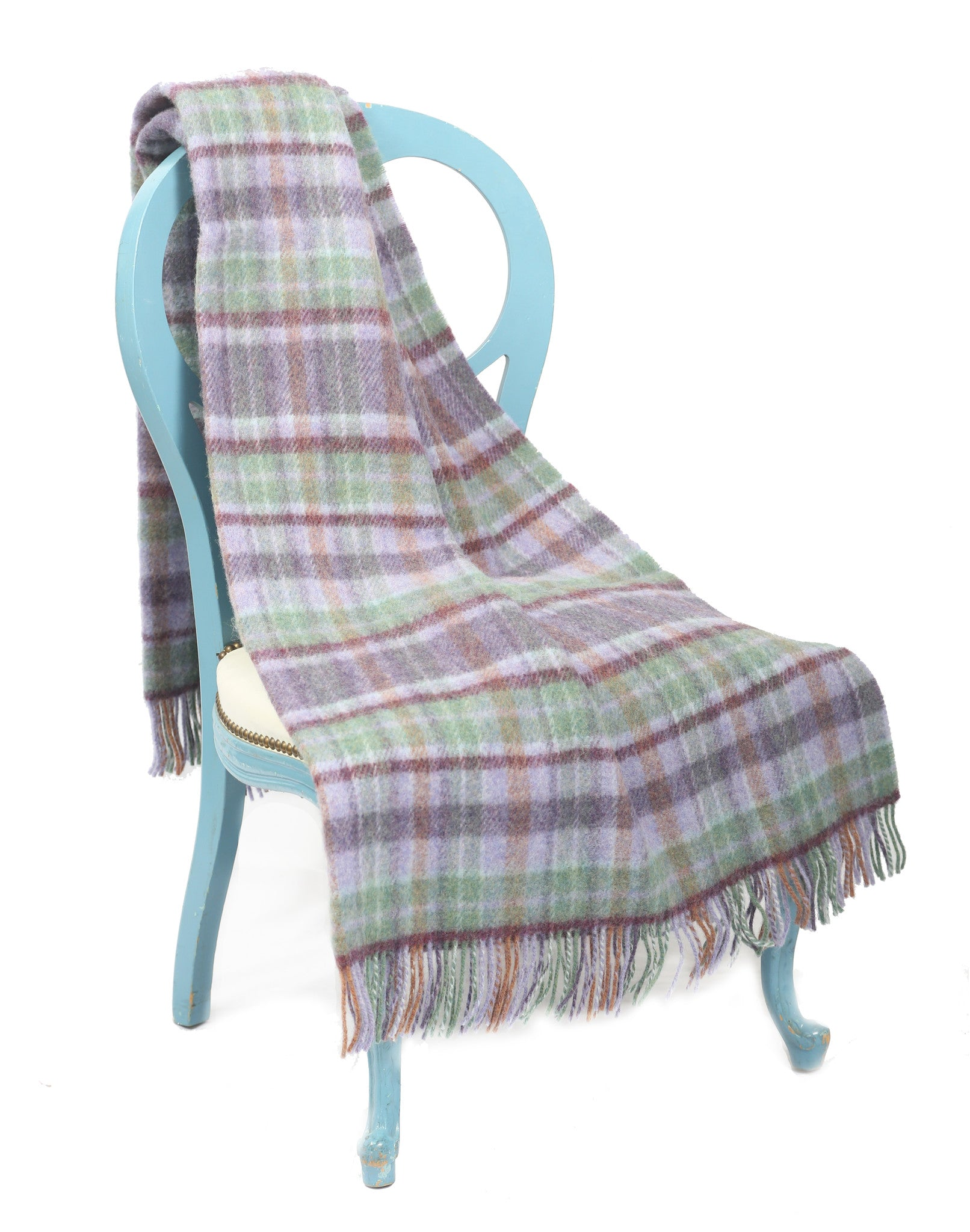Large Wool Throw Blanket / Lavender Multi - Carleton Varney