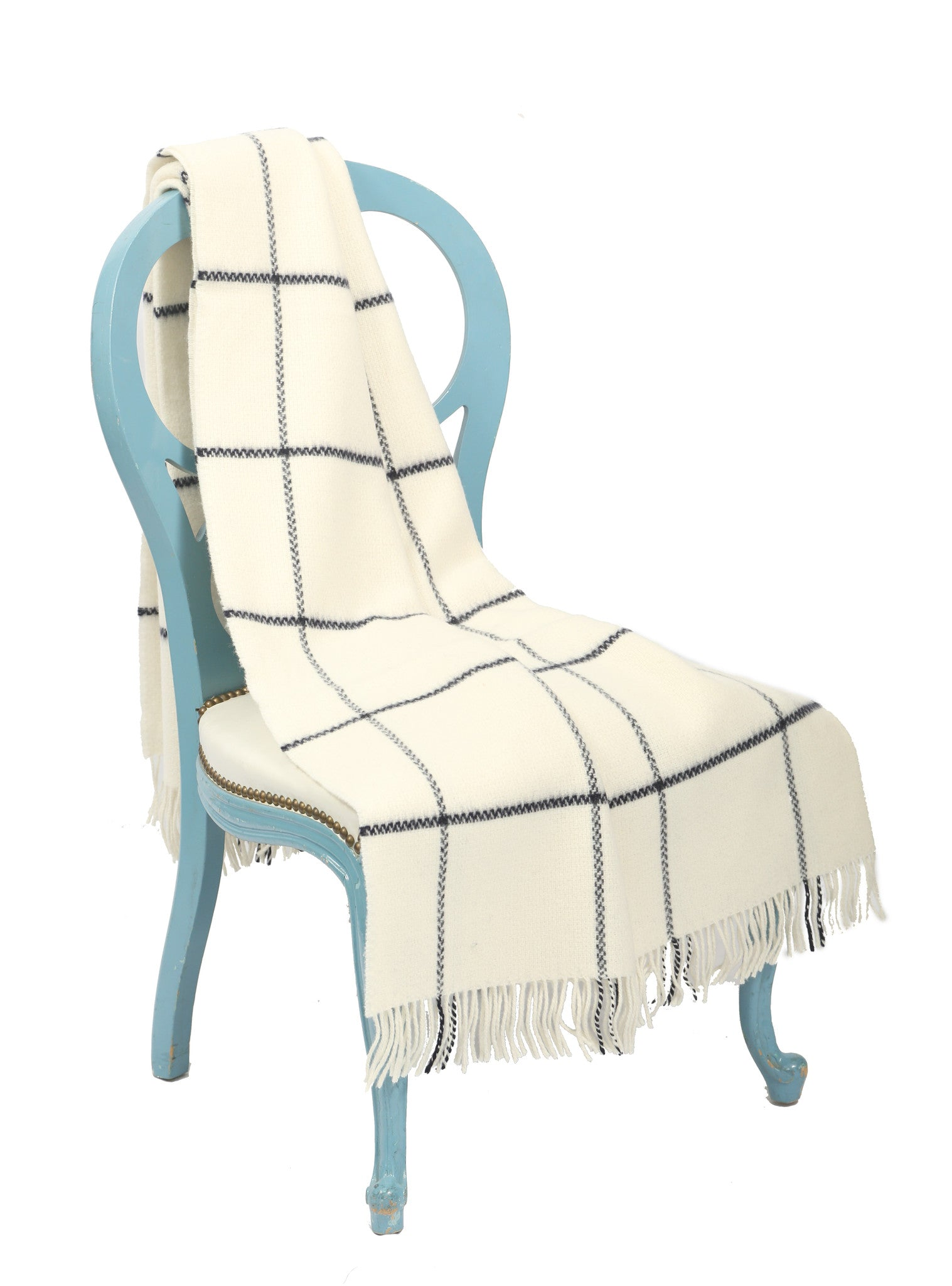 Large All Wool Throw Blanket / Skipper Blue on White - Carleton Varney