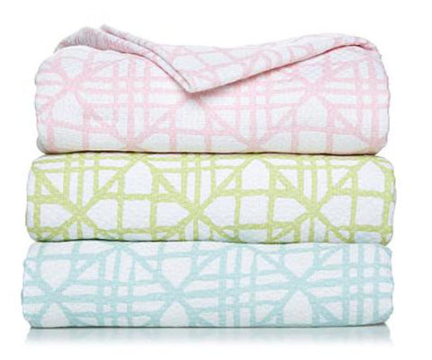 Criss-Cross Throw Blanket in Pink, Aqua or Mint and Available in King or Queen Size - Carleton Varney