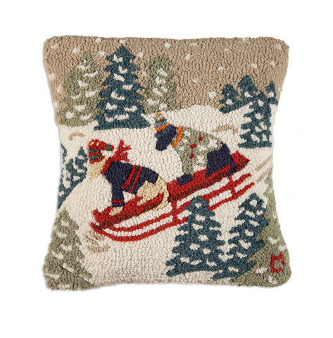 "Happy Pups on Sled 18"" Hooked Wool Pillow - Carleton Varney"