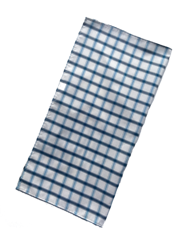 Silk Pocket Square - Blue Windsor Check - Carleton Varney