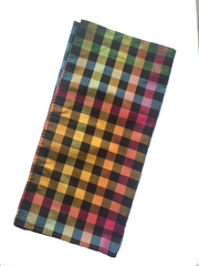 Silk Pocket Square - Multi Check Black - Carleton Varney