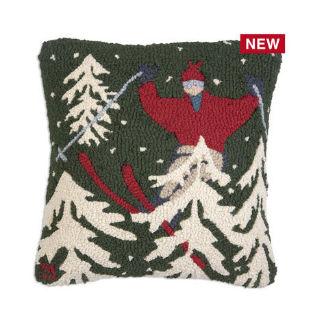 "In The Woods Skier on Green 18"" Hooked Wool Pillow - Carleton Varney"