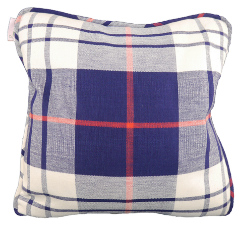 Saunders Check Navy & Red Throw Pillow Cover - Carleton Varney