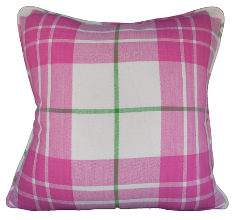 Saunders Check Pink Throw Pillow Cover - Carleton Varney