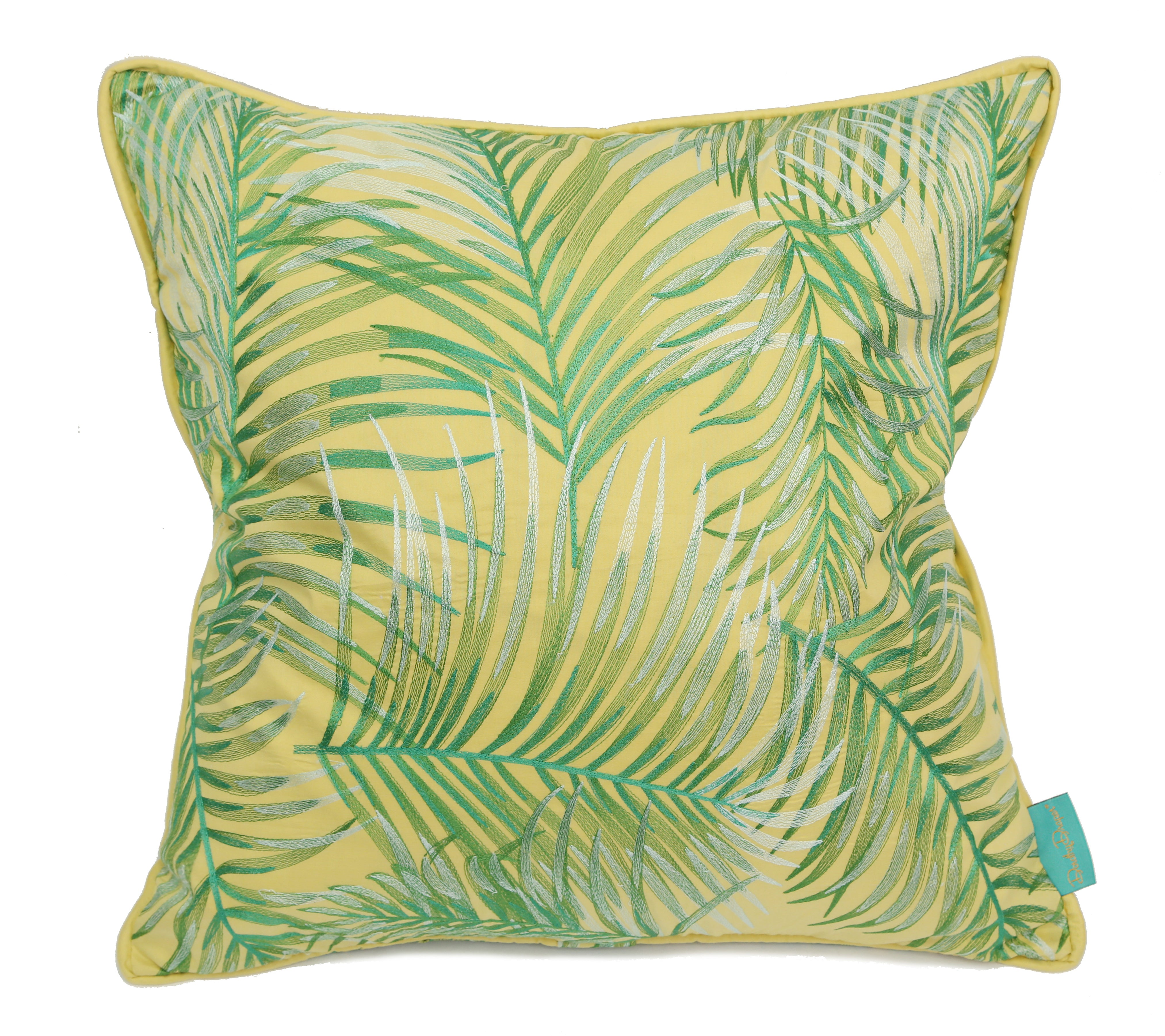 Robellini Silk Embroidered Throw Pillow Cover - Yellow - Carleton Varney