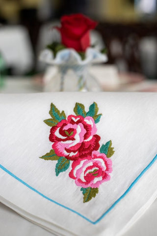 Linen Embroidered Rose Large Dinner Napkin - Carleton Varney