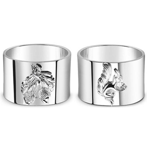 Set of 4 Napkin Rings Squirrel and Acorn