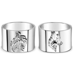 Set of 4 Napkin Rings Squirrel and Acorn - Carleton Varney