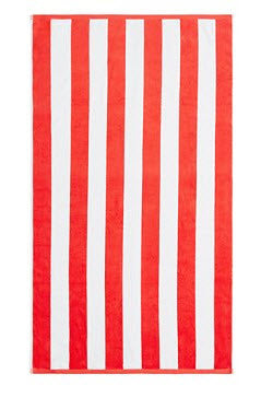 Cabana Beach Towel - Red Stripe - Carleton Varney