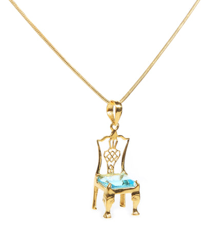 Your Choice of Birthstone Chair on Gold Necklace - Carleton Varney