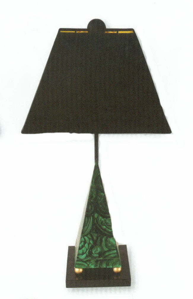 Carleton's Pyramid Malachite Table Lamp - Green - Carleton Varney
