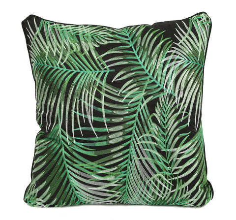 Robellini Silk Embroidered Throw Pillow Cover - Black - Carleton Varney
