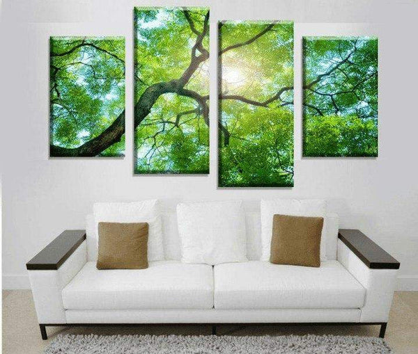 4 Pieces Multi Panel Modern Home Decor Framed Tree Scenery Landscape Wall Canvas Art | Octo Treasure