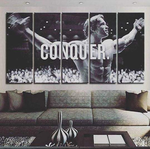 "5 Panel Framed ""Arnold Conquer"" Canvas Spray Painting 