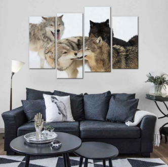 """Narbak Pack Of Snow"" Wolves Canvas Painting"
