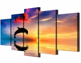 "5 Panel Framed ""Sunset Dolphin Kick"" Canvas Spray Painting"