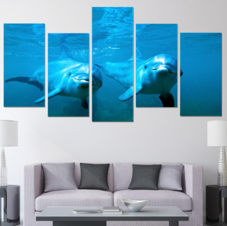 "5 Panel ""Oceanic Love""Dolphin Canvas Painting"