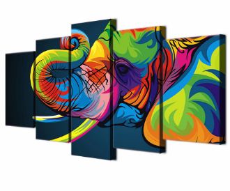 5 Panel Colorful Elephant Canvas Spray Painting