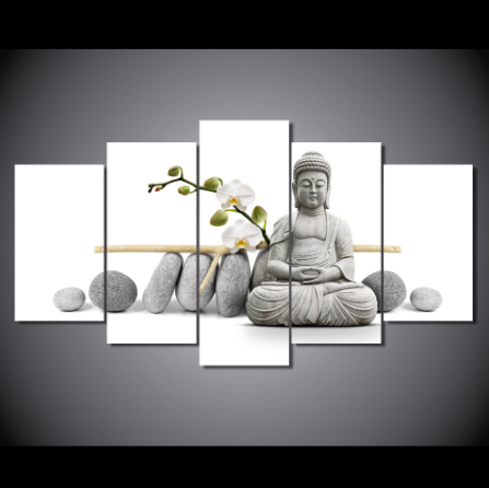"5 Panel ""Pureness"" Buddha Canvas Painting"