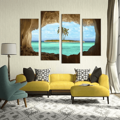 4 Panel Framed Cave Island Seascape Canvas Wall Art | Octo Treasure