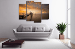4 Panel Boating Dock Sunset Scenery Framed Wall Canvas Art | Octo Treasure