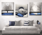 3 Panel Blue Lands Scenery Framed Modern Wall Canvas | Octo Treasure