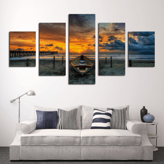 5 Panel Sunset Boat Seascape Framed Wall Canvas Art | Octo Treasure