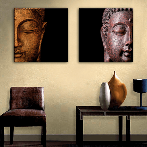 2 Panel Buddha Head Framed Modern Wall Canvas | Octo Treasure