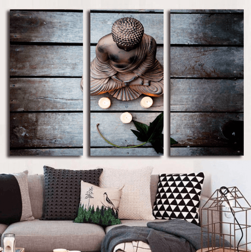 3 Panel Framed Modern Zen Buddha Canvas Wall Art | Octo Treasure