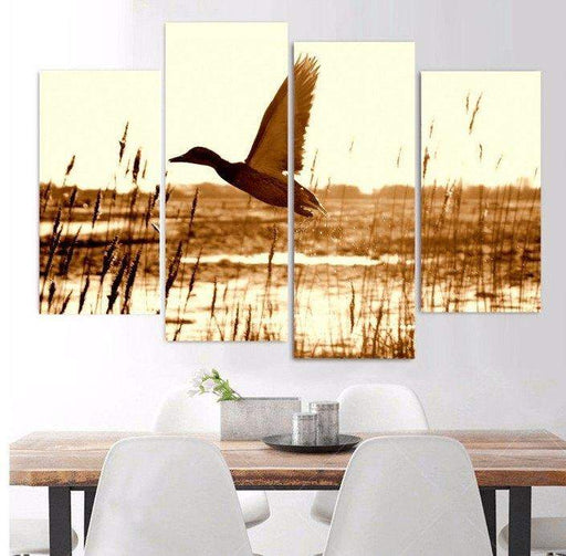 4 Panel Duck Hunting Landscape Framed Wall Canvas | Octo Treasure
