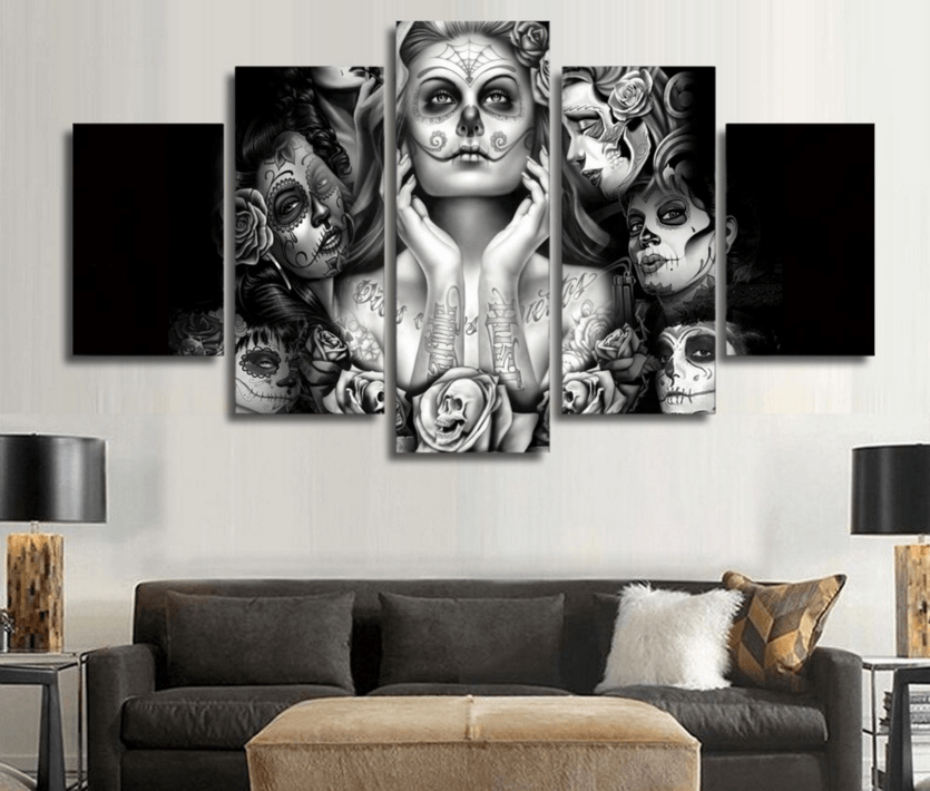 5 Panel Day Of The Dead Face Painting Framed Wall Canvas | Octo Treasure