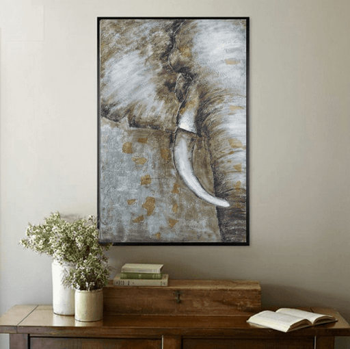 1 Panel Savanna Elephant Oil Painting Unframed Modern Wall Canvas | Octo Treasure