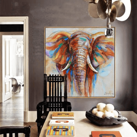 1 Panel Colorful Elephant Wildlife Unframed Modern Wall Canvas | Octo Treasure