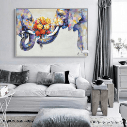 Nordic Elephant Love Unframed Modern Wall Canvas | Octo Treasure