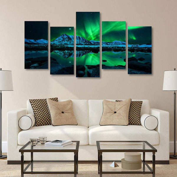 5 Panel Framed Aurora Northern Light Canvas Painting | Octo Treasure