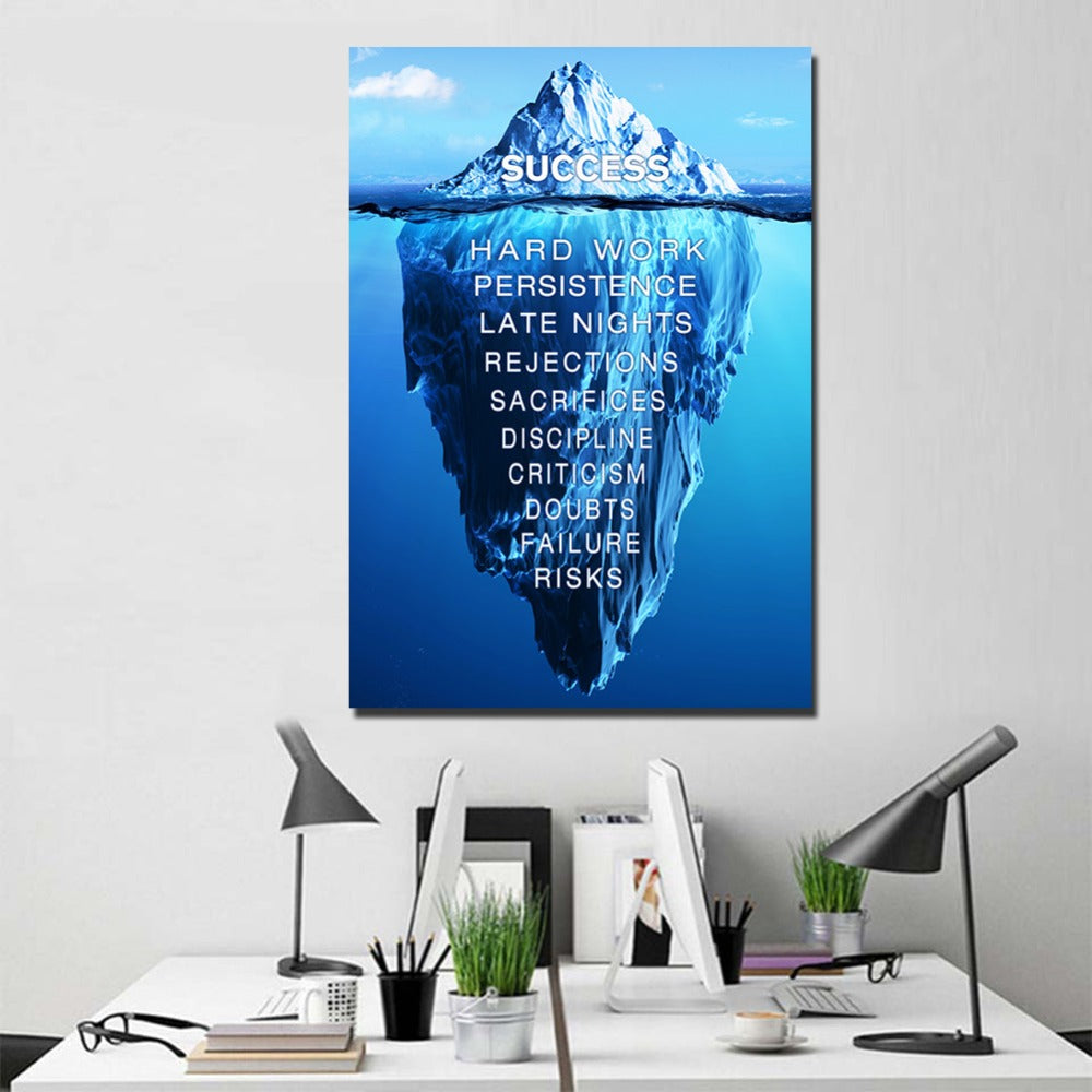 Tip Of The Iceberg Success Quote Wall Art   OctoTreasure